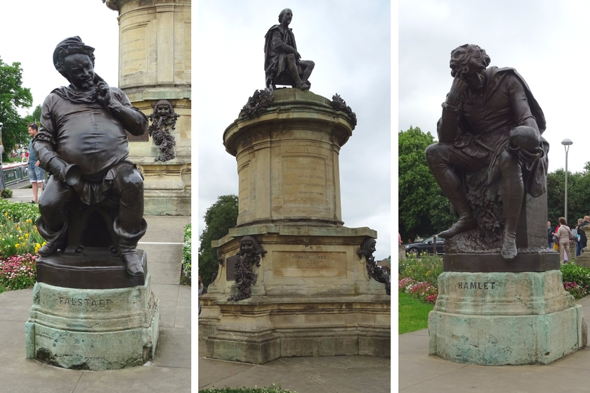 Stratford-upon-avon, gower memorial, shakespeare, hamlet and falstaff